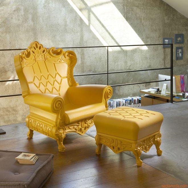 hires-queen-of-love-poltrona-di-design-in-polietilene-giallo-zafferano-abbinata-a-pouf-prince-of-love